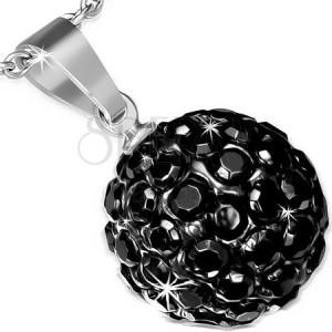 Acél medál Shamballa golyókkal, fekete csillogó cirkóniák, 12 mm