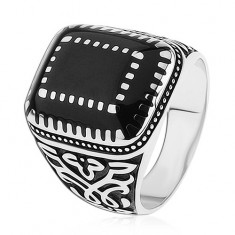 925 ezüst gyűrű, minták a szárakon, téglalapok fekete fénymázzal