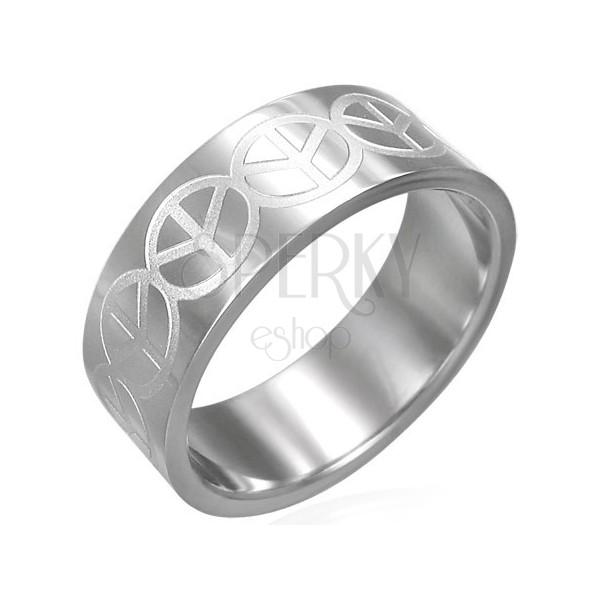 Gyűrű sebészeti acélból - bemart Peace logók