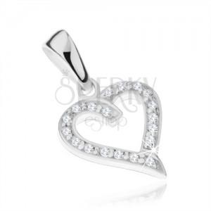 925 ezüst medál - egyenletes szív körvonal átlátszó cirkóniákkal díszítve