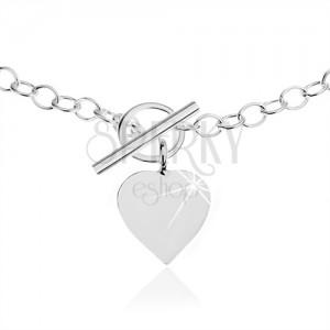 Nyakék 925 ezüstből, ovális láncszemek, lapos szív alakú medál