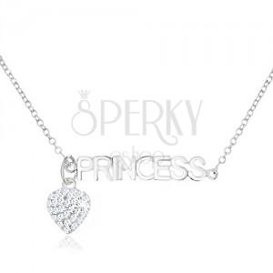 """Nyakék 925 ezüstből, átlátszó cirkóniás szív, """"PRINCESS"""" felirat"""