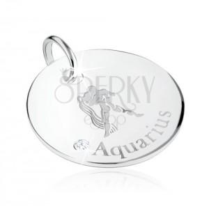925 ezüst medál - állatövi jegy VÍZÖNTŐ, átlátszó cirkónia