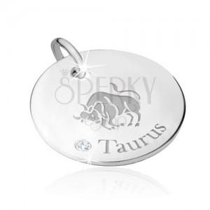 Medál 925 ezüstből - BIKA állatövi jegy, átlátszó cirkónia, felirat