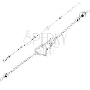 925 ezüst karkötő - enyhe lánc csillogó golyókkal, szívkörvonal