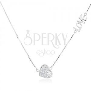 """Nyakék 925 ezüstből, átlátszó cirkóniás szív, fényes """"LOVE"""" felirat"""