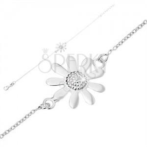 Állítható karkötő 925 ezüstből, enyhe lánc, virág