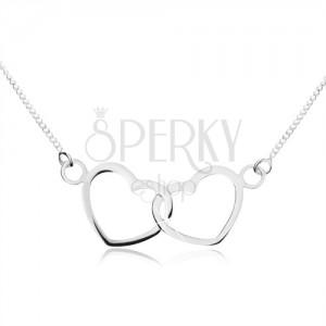 925 ezüst nyakék - enyhe lánc, összekapcsolt szívkörvonalak