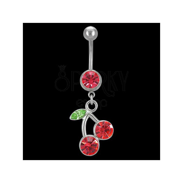 Köldökpiercing - kővel kitöltött cseresznyék