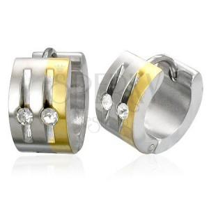 Acél fülbevaló ezüst és arany színben, átlátszó cirkóniák, függőleges bevágások