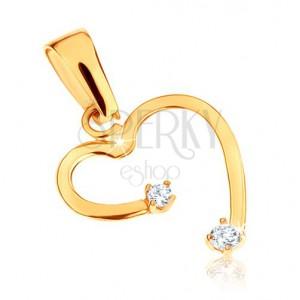 375 arany medál - szabálytalan szívkörvonal, átlátszó kövek