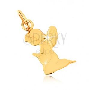 Medál 9K sárga aranyból - gravírozott imádkozó angyalka, tükörfény