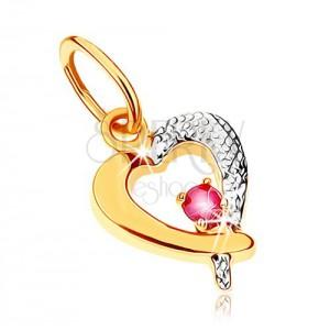 Kétszínű medál 9K aranyból - szívkörvonal sötétrózsaszín rubinnal, ródiumozott