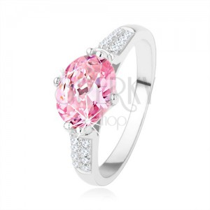 925 ezüst eljegyzési gyűrű, ovális rózsaszín cirkónia, átlátszó apró cirkóniák