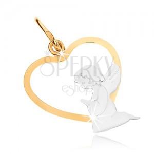 Kétszínű 375 arany medál - térdeplő angyal a szív körvonal alsó részében