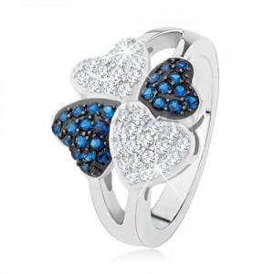 Gyűrű 925 ezüstből, négy szív - apró átlátszó és kék kövek