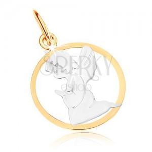 Kétszínű 375 arany medál - gravírozott angyal, kör kontúr, ródiumozott