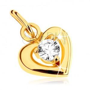 Medál 9K sárga aranyból - fényes vonal szimmetrikus szív alakban, kerek átlátszó cirkónia