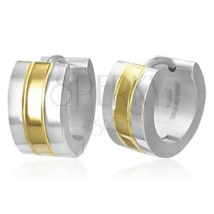 Fülbevaló sebészeti acélból - kétszínű karika - ezüst és arany