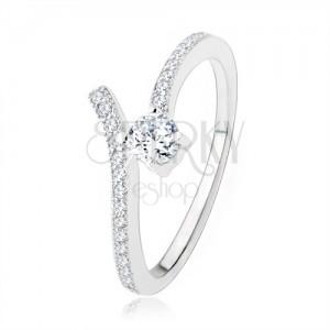 925 ezüst eljegyzési gyűrű, kettévált szár, átlátszó cirkónia
