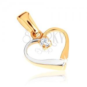 375 arany kétszínű medál - szimmetrikus szívkörvonal, átlátszó cirkónia