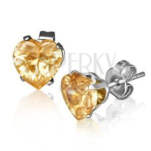 Csillogó szívecskés fülbevaló acélból, nagy sárga-narancs cirkónia