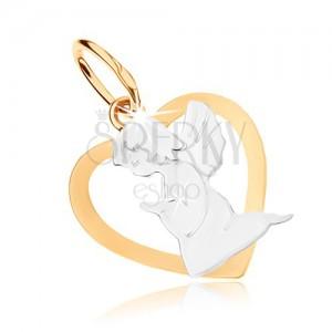 Ródiumozott medál 9K aranyból - szívkörvonal angyallal, kétszínű kivitelezés