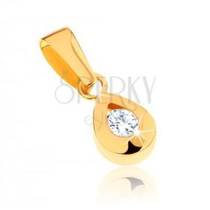 Medál 9K sárga aranyból - csillogó csepp átlátszó cirkóniával