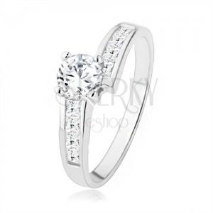 Csillogó gyűrű 925 ezüstből cirkóniás díszítéssel, nagy átlátszó kő
