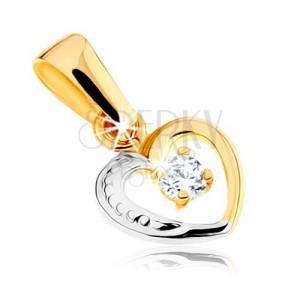 Kétszínű 375 arany medál - kis szív vonal, átlátszó kő