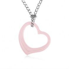 Acél nyakék, rózsaszín kerámia szívkörvonal, ezüst színű lánc