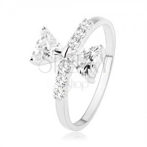 925 ezüst gyűrű, masni cirkóniával, apró cirkóniák a szárakon