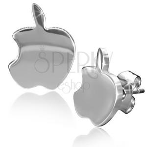 Fényes acél fülbevaló, ezüst színű alma