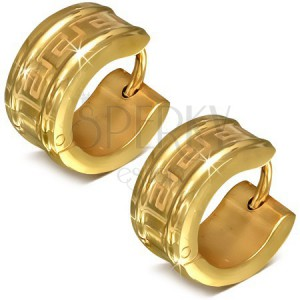 Kerek fülbevaló sebészeti acélból arany színben, görög kulcs