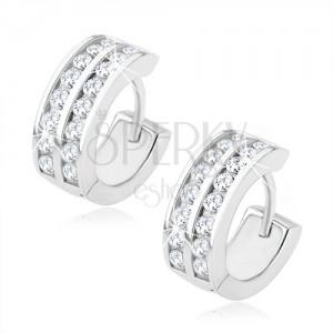 Fülbevaló 925 ezüstből - karikák, két átlátszó köves vonal, szögecskés kapcsolás