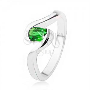 925 ezüst eljegyzési gyűrű - hullámos szárak, sötétzöld ovális kő
