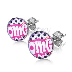 """Beszúrós fülbevaló sebészeti acélból, fehér """"OMG"""" felirat rózsaszín alapon"""