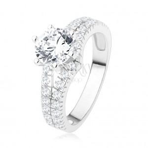 925 ezüst eljegyzési gyűrű - nagy átlátszó kő, kettős cirkóniás szárak