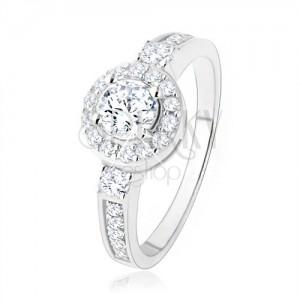 925 ezüst eljegyzési gyűrű, átlátszó cirkóniás napocska, csillogó kövek