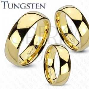 Tungsten gyűrű arany színben, fényes és sima felület, 6 mm