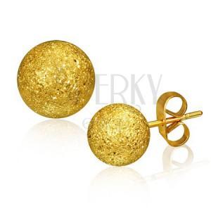 Acél fülbevaló, golyó arany színben szemcsés felülettel, 6 mm