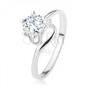 Eljegyzési gyűrű 925 ezüstből, szűk tekert szárak, átlátszó cirkónia