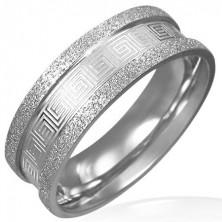 Szemcsés acél gyűrű - görög kulcs ornamentumok