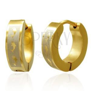 Szögecskés fülbevaló acélból, arany szín, sáv ezüst árnyalatban delfinekkel
