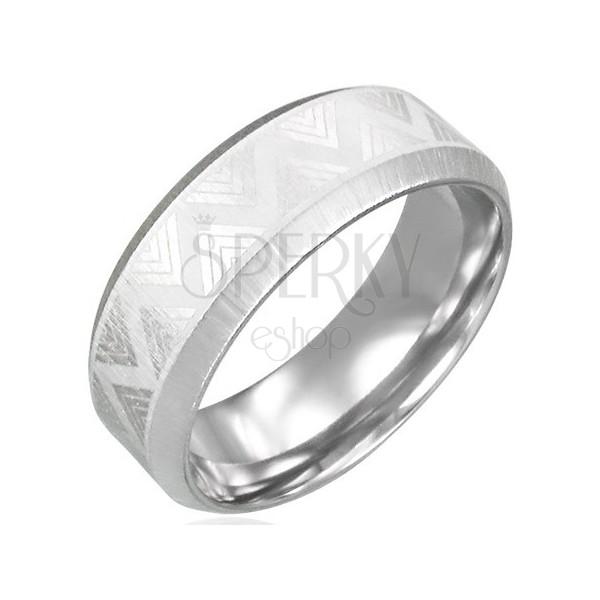 Nemesacél gyűrű csiszolt élekkel - Triangel