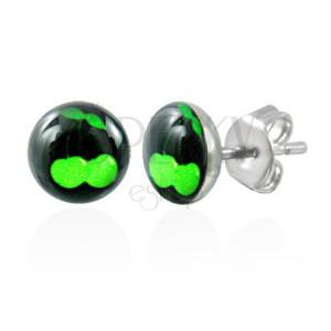 Acél fülbevaló - zöld cseresznye fekete alapon