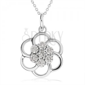 Nyakék 925 ezüstből - virág körvonal átlátszó kövekkel díszítve, lánc