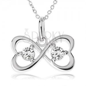 Nyakék 925 ezüstből, masni két szív körvonalból, átlátszó cirkóniák