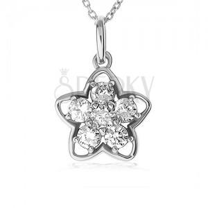 Nyakék 925 ezüstből, virág sziluett, átlátszó cirkóniákból álló virág