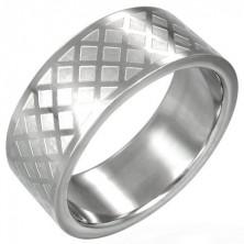 Sebészeti acél gyűrű - fényes rácsos minta